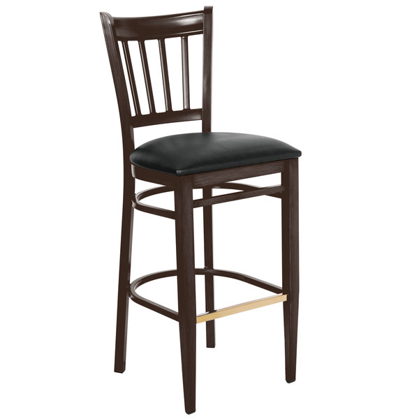 Lancaster Table & Seating Spartan Series Bar Height Metal Slat Back Chair with Walnut Wood Grain Finish and Black Vinyl Seat