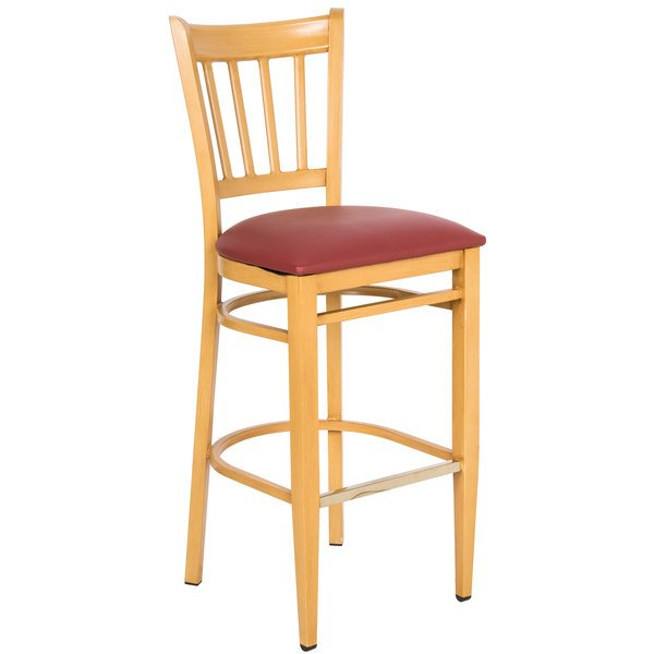 Lancaster Table & Seating Spartan Series Bar Height Metal Slat Back Chair with Natural Wood Grain Finish and Red Vinyl Seat