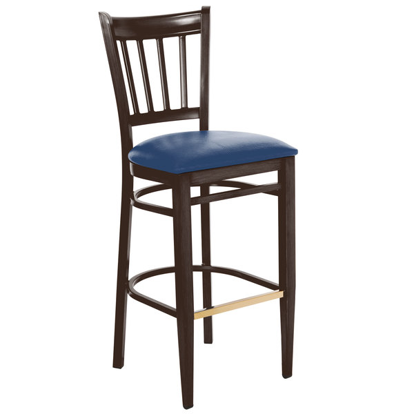 Lancaster Table & Seating Spartan Series Bar Height Metal Slat Back Chair with Walnut Wood Grain Finish and Navy Vinyl Seat