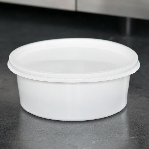 Choice 8 Oz White Microwavable Plastic Round Deli