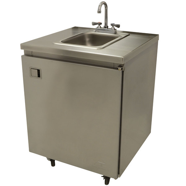 """Advance Tabco SHK-MSC-31CH 31"""" Portable Self-Contained Stainless Steel Hand Sink Cart with Deck Mount Faucet and Hot Water Heater"""
