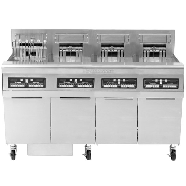 Frymaster FPRE414TC-SD High Efficiency Electric Floor Fryer with (4) 50 lb. Full Frypots and CM3.5 Controls - 208V, 3 Phase, 14kW Main Image 1