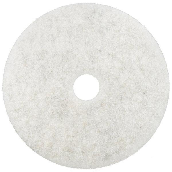 """3M 3300 20"""" Natural Blend White Light Duty Burnishing Floor Pad - 5/Case"""