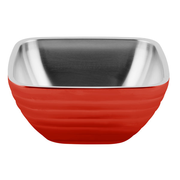 Vollrath 4763555 Double Wall Square Beehive 5.2 Qt. Serving Bowl - Fire Engine Red