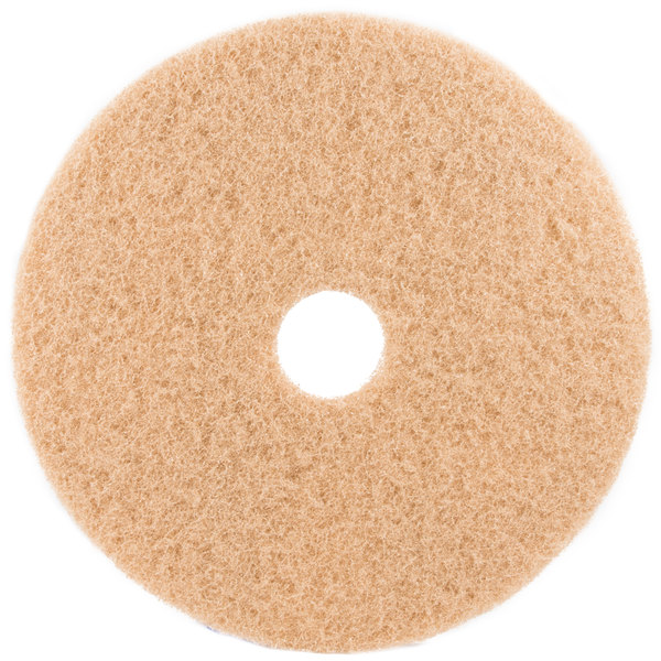 "3M 3400 20"" Tan Burnishing Floor Pad - 5/Case"