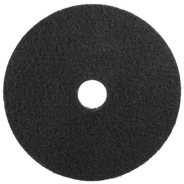 "3M 7200 17"" Black Stripping Floor Pad - 5/Case"