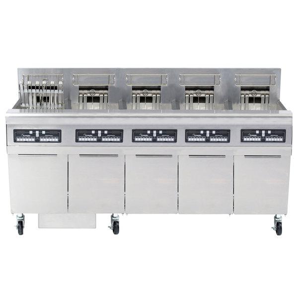 Frymaster FPRE517TC-SD High Efficiency Electric Floor Fryer with (5) 50 lb. Full Frypots and CM3.5 Controls - 240V, 3 Phase, 17kW