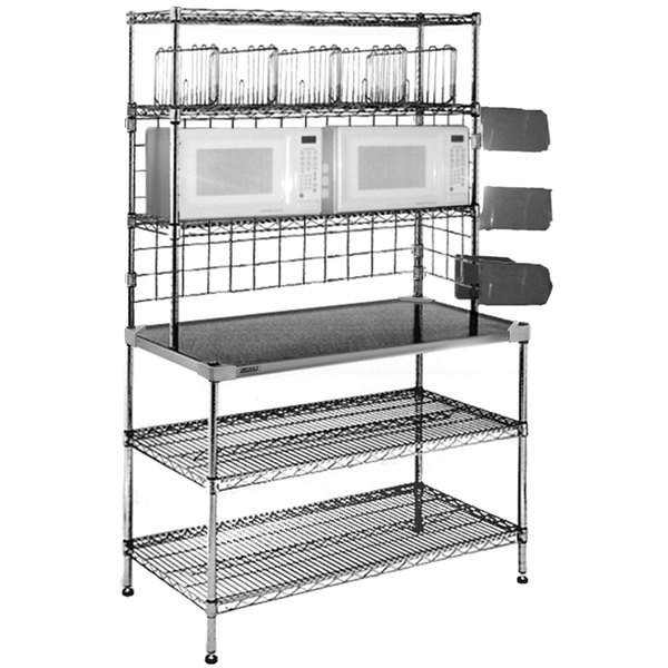 "Eagle Group TSM3048C 30"" x 48"" 18 Gauge Type 304 Stainless Steel Microwave Prep Table with 3 Overshelves and 2 Undershelves"