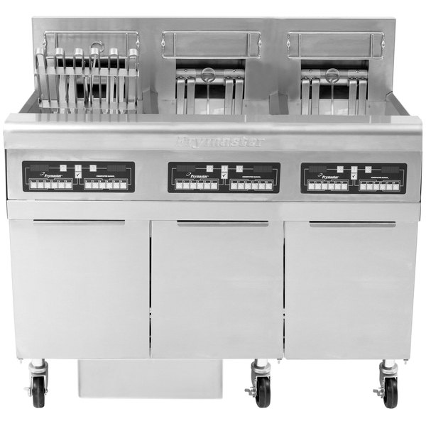 Frymaster FPRE322TC-SD High Efficiency Electric Floor Fryer with (3) 50 lb. Full Frypots and CM3.5 Controls - 240V, 1 Phase, 22kW