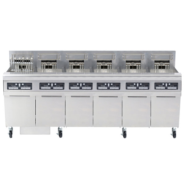 Frymaster FPRE622TC-SD High Efficiency Electric Floor Fryer with (6) 50 lb. Full Frypots and CM3.5 Controls - 208V, 1 Phase, 22kW Main Image 1