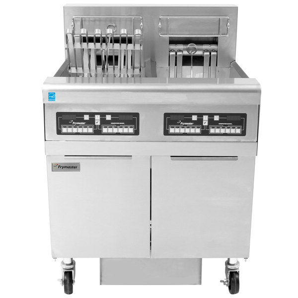 Frymaster FPRE222TC-SD High Efficiency Electric Floor Fryer with (2) 50 lb. Full Frypots and CM3.5 Controls - 240V, 1 Phase, 22kW Main Image 1