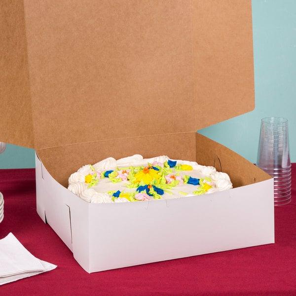 "14"" x 14"" x 6"" White Cake / Bakery Box - 50/Bundle"