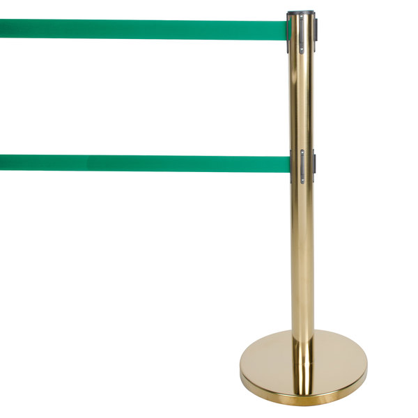 """Aarco HB-27 Brass 40"""" Crowd Control / Guidance Stanchion with Dual 84"""" Green Retractable Belts"""