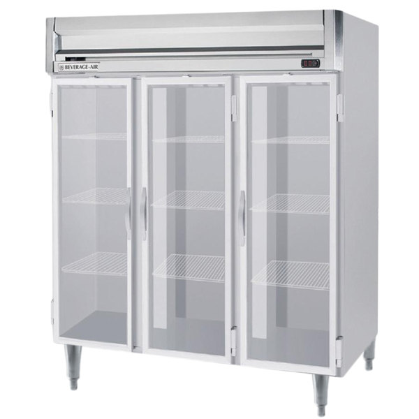 """Beverage-Air HFPS3-5G-LED Horizon Series 78"""" Glass Door All Stainless Steel Reach-In Freezer with LED Lighting"""