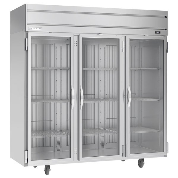 "Beverage-Air HFPS3-5G Horizon Series 78"" Glass Door All Stainless Steel Reach-In Freezer with LED Lighting Main Image 1"