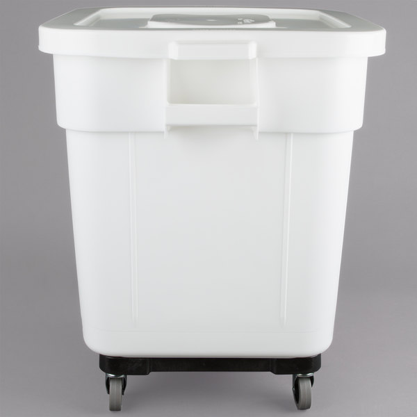 Baker S Mark 32 Gallon White Mobile Ingredient Storage Bin