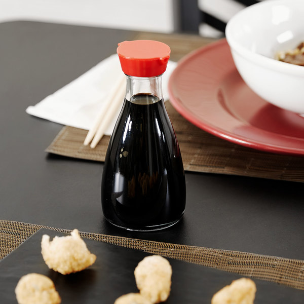 Town 19814 5 oz. Red Top Soy Sauce Bottle - 12/Pack