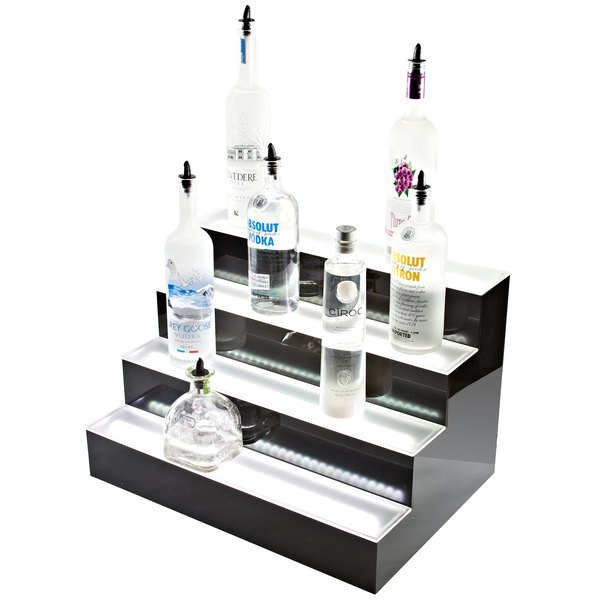 "Beverage-Air LBD3-36L 36"" Three-Tiered Liquor Display with Built-In LED Lighting - 13 1/2"" Deep"