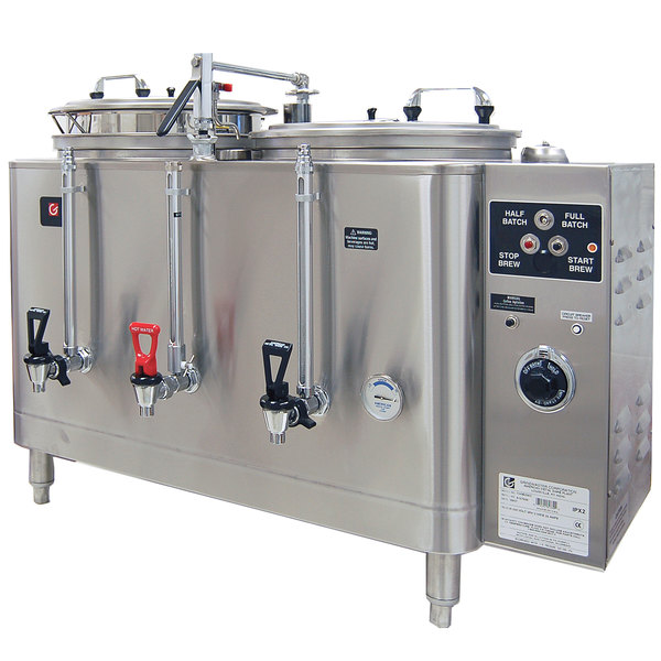 Grindmaster 7443E Twin Midline 3 Gallon Fresh Water Coffee Urn - 120/240V 1 Phase Main Image 1