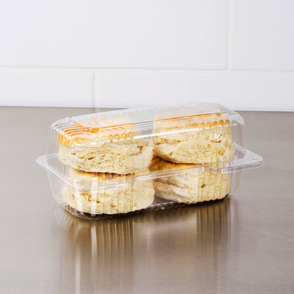 "Dart C19UT1 StayLock 8 1/2"" x 4 1/2"" x 3 5/8"" Clear Hinged Plastic Small High Dome Oblong Container - 250/Case"