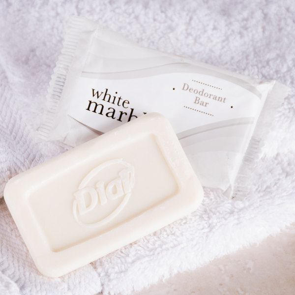 Dial DW00184A White Marble Deodorant Soap 0.388 oz. - 1000/Case