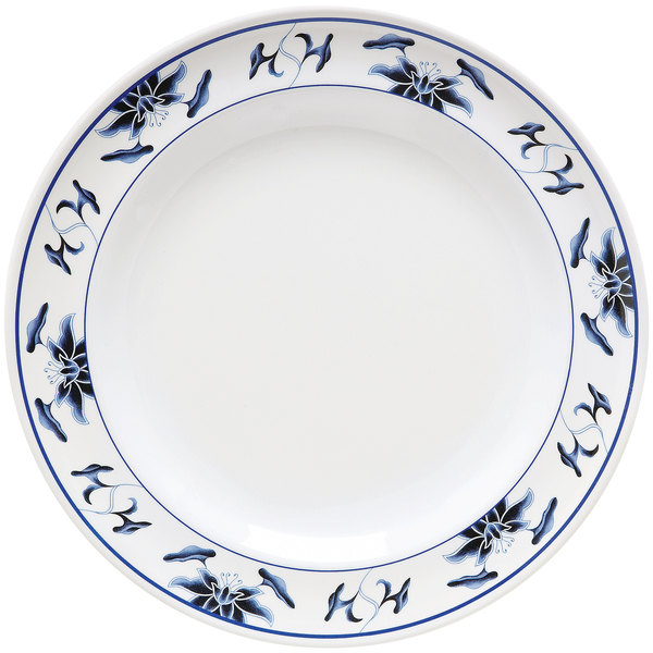 """GET M-417-B Water Lily 14"""" Melamine Plate - 12/Pack"""