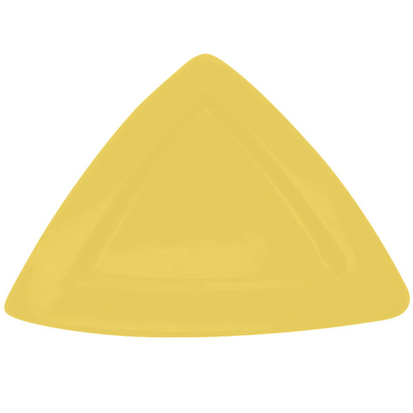 """CAC TRG-12YLW Festiware Triangle Deep Plate 11 1/2"""" - Yellow - 12/Case"""