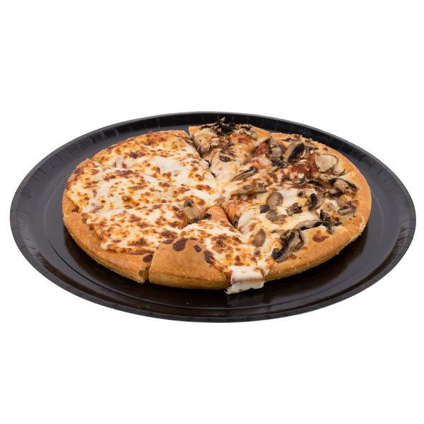 "Solut 74555 15"" Take and Bake Pizza Tray Coated Corrugated Black - 150/Case"
