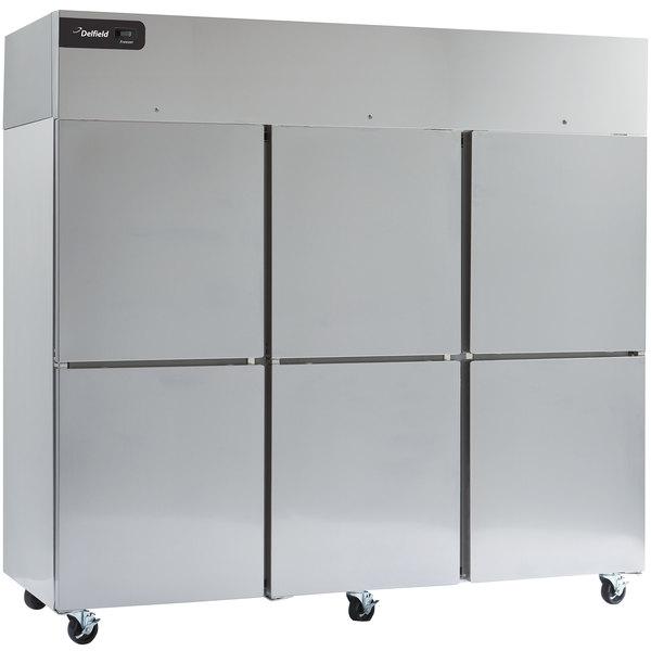 """Delfield GCR3P-SH Coolscapes 83"""" Top-Mount Solid Half Door Reach-In Refrigerator with Aluminum Interior"""