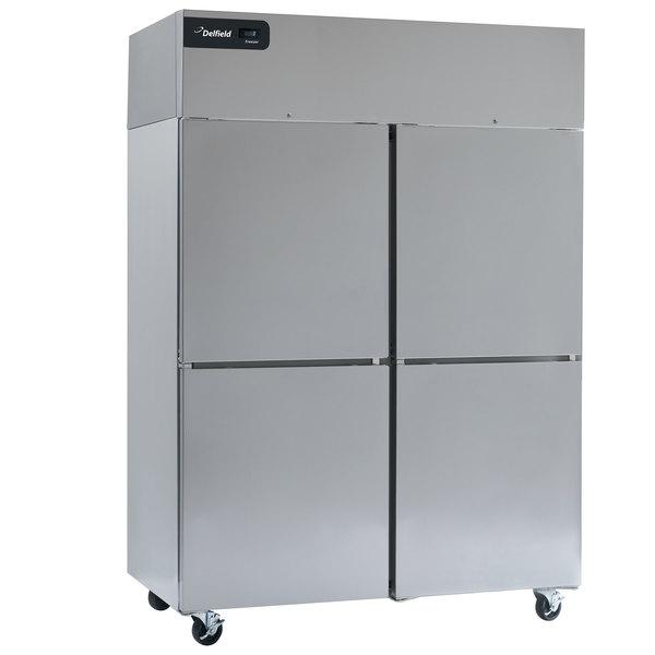 "Delfield GCR2P-SH Coolscapes 55"" Top-Mount Solid Half Door Reach-In Refrigerator with Aluminum Interior Main Image 1"