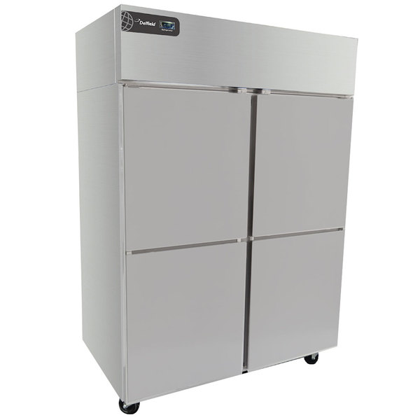 """Delfield GBSR2P-SH Coolscapes 55"""" Top-Mount Two Section Solid Half Door Stainless Steel Reach-In Refrigerator - 46 cu. ft."""