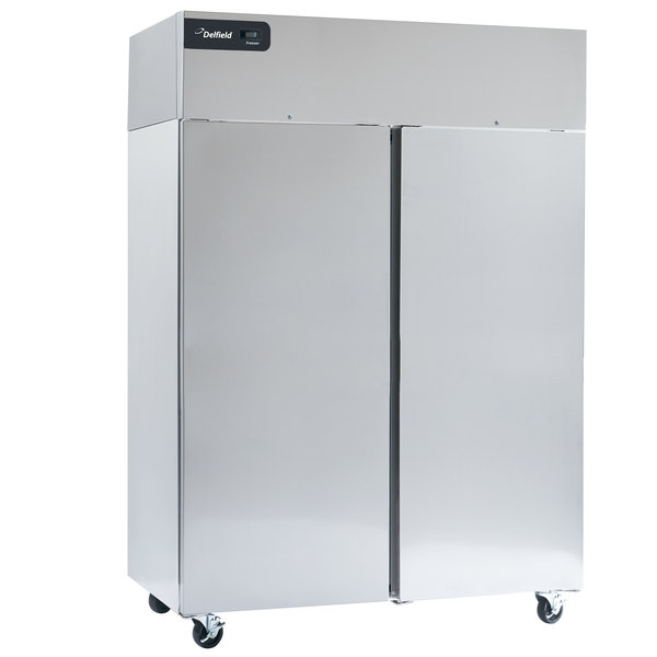 """Delfield GBSF2P-S Coolscapes 55"""" Top-Mount Two Section Solid Door Stainless Steel Reach-In Freezer - 46 cu. ft."""