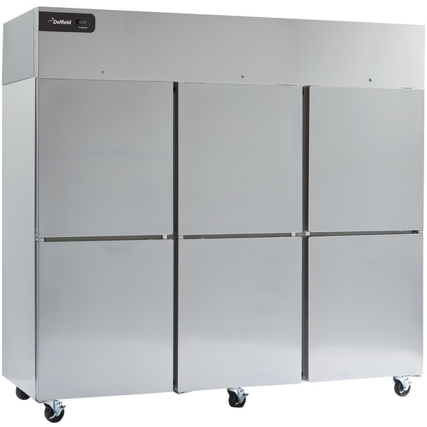 """Delfield GBF3P-SH Coolscapes 83"""" Top-Mount Three Section Half Door Stainless Steel Reach-In Freezer - 71 cu. ft."""
