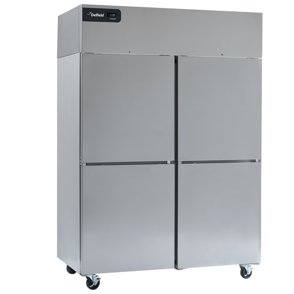 "Delfield GBSF2P-SH Coolscapes 55"" Top-Mount Two Section Half Door Stainless Steel Reach-In Freezer - 46 cu. ft."