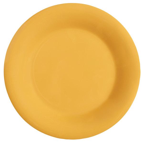 "GET WP-10-TY Diamond Mardi Gras 10 1/2"" Tropical Yellow Wide Rim Round Melamine Plate - 12/Case"