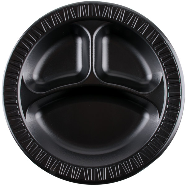 Dart Solo 10CPBQR Quiet Classic 10 1/4 inch 3 Compartment Black Laminated Round Foam Plate - 500/Case