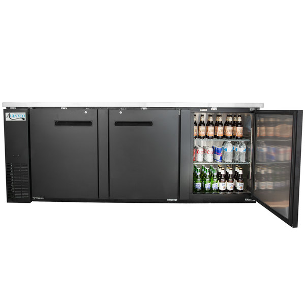 """Avantco UBB-4 90"""" Solid Door Back Bar Cooler with Stainless Steel Top and LED Lighting"""