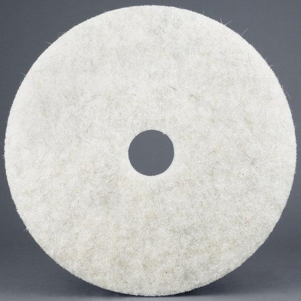 """3M 3300 17"""" Natural Blend White Light-Duty Burnishing Floor Pad - 5/Case"""
