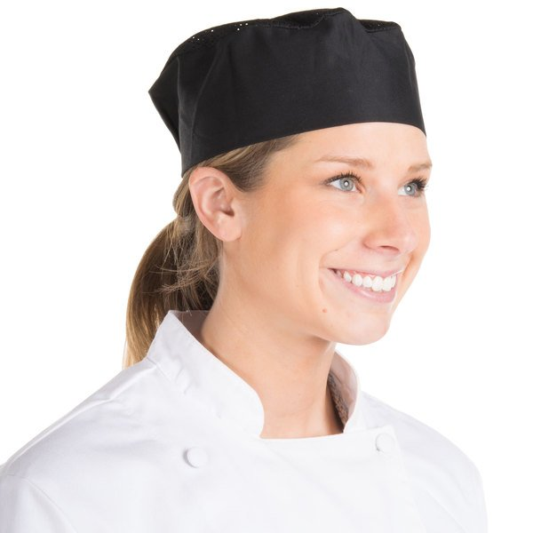 Chef Revival Customizable Black Mesh Top Baker S Skull Cap Pill Box Hat Regular Size
