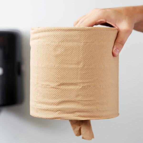Response 27500 Retain 2-Ply Brown Natural Kraft Coreless Center Pull Paper Towel 500' Roll - 6/Case