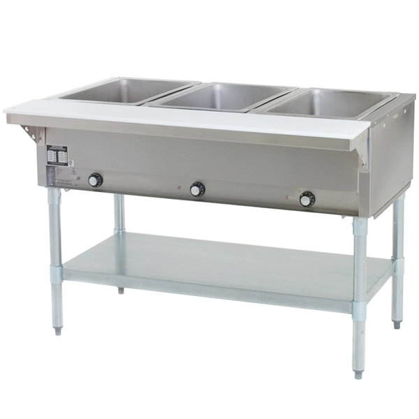 Eagle Group SHT3 Liquid Propane Steam Table Three Pan - All Stainless Steel - Open Well Main Image 1