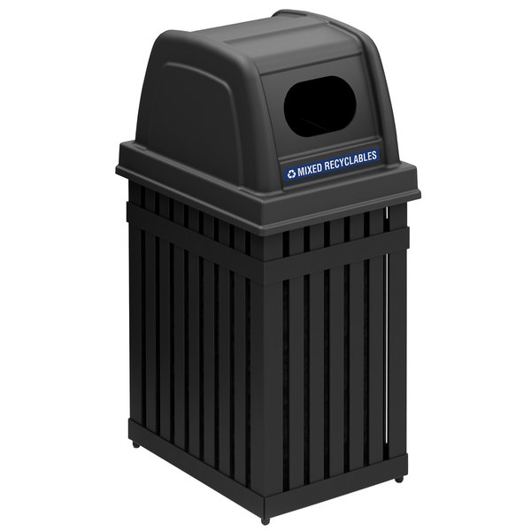 Commercial Zone 72700199 ArchTec Parkview 25 Gallon Black Trash / Recycling Receptacle with Decals Main Image 1