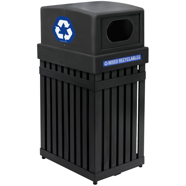 Commercial Zone 72700199 ArchTec Parkview 25 Gallon Black Trash / Recycling Receptacle with Decals