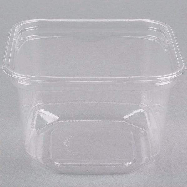 D&W Fine Pack SD16NC1 FreshServe 16 oz. Square PLA Plastic Clear Deli Container - 50/Pack