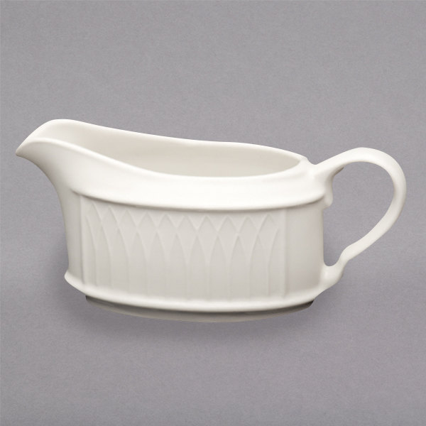 Homer Laughlin 3177000 Gothic 6.5 oz. Ivory (American White) Undecorated China Sauce Boat - 36/Case