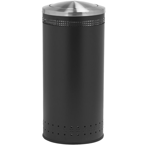 Commercial Zone 781401 Precision 25 Gallon Imprinted Black Steel Trash Receptacle and Swivel Lid Set