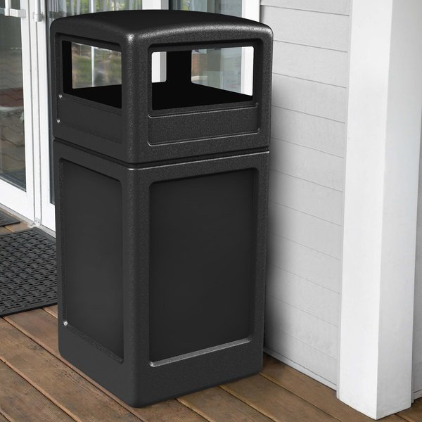 Commercial Zone 73290199 PolyTec 42 Gallon Black Waste Container and Dome Lid Set Main Image 4