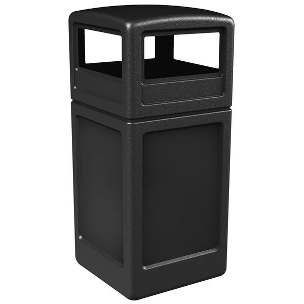 Commercial Zone 73290199 PolyTec 42 Gallon Black Waste Container and Dome Lid Set