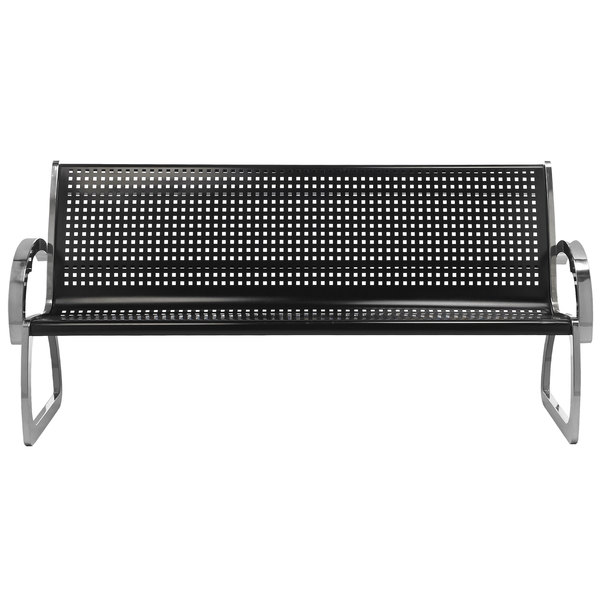 Commercial Zone 725001 Skyline Series 4' Black and Stainless Steel Indoor / Outdoor Bench