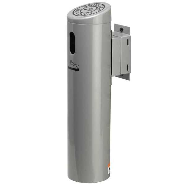 Commercial Zone 712107 Smokers' Outpost Silver Wall-Mounted Cigarette Receptacle with Swivel System
